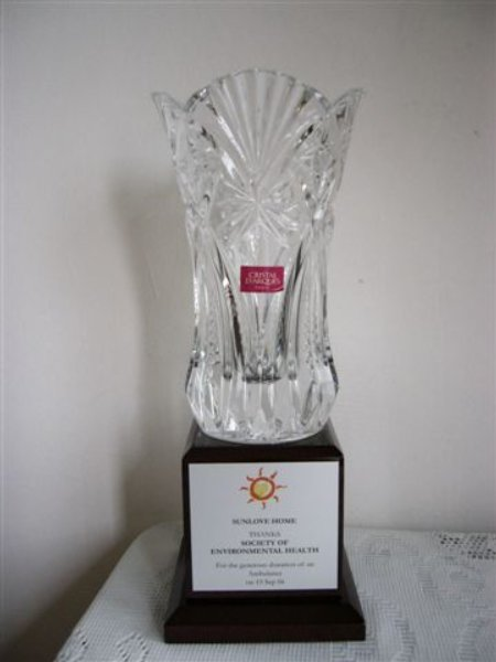 The Crystal Plaque presented to SOCEH