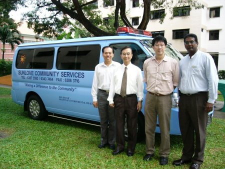 From left, Society's Mr Chia Chin Boey and Mr Koh Geok Beng with Mr Eddie Sim, Senior Manager and Mr Raja Mohan, Chief Programme Officer of Sunlove Abode